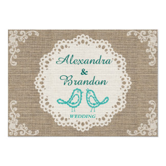 Rustic Burlap Blue Bird and Round Lace Card