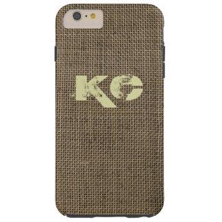 Rustic burlap brown monogram tough iPhone 6 plus case