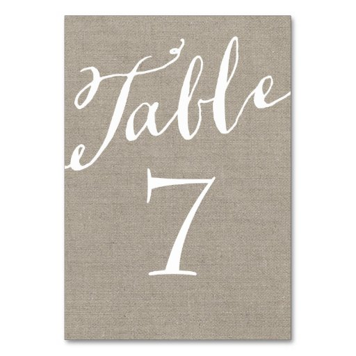 Rustic Burlap Chic Calligraphy Table Numbers Table Cards