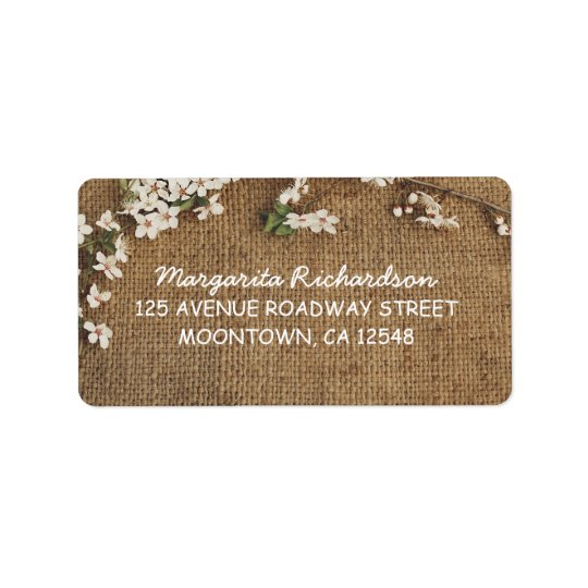 rustic burlap country wedding address labels