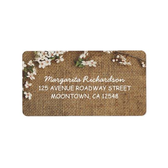 rustic burlap country wedding address labels