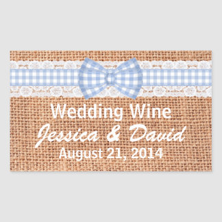 Rustic Burlap Country Wedding Mini Wine Label Rectangular Sticker