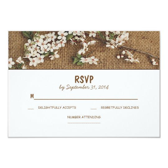 Rustic burlap country wedding RSVP cards