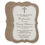 Rustic Burlap Cross Holy Communion Or Confirmation 13 Cm X 18 Cm Invitation Card