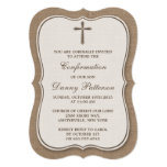 Rustic Burlap Cross Holy Communion Or Confirmation 13 Cm X 18 Cm Invitation Card