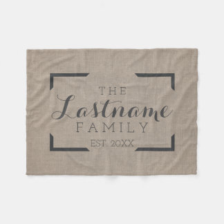 Rustic Burlap - Custom Family or Wedding Sign Fleece Blanket