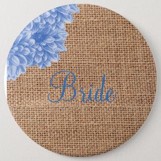 Rustic Burlap Dahlia 6 Cm Round Badge