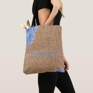 Rustic Burlap Dahlia Bridesmaid Tote Bag
