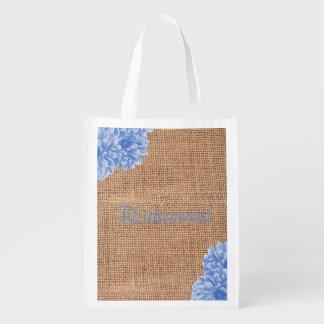 Rustic Burlap Dahlia Wedding Party Bags