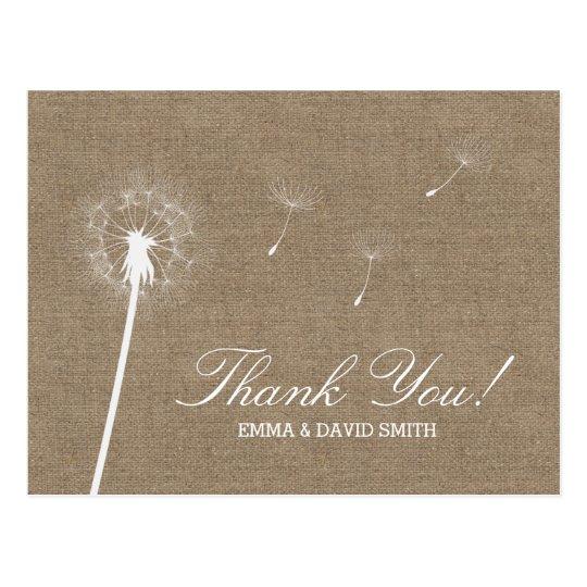 Rustic Burlap Dandelion Blowing Thank You Postcard