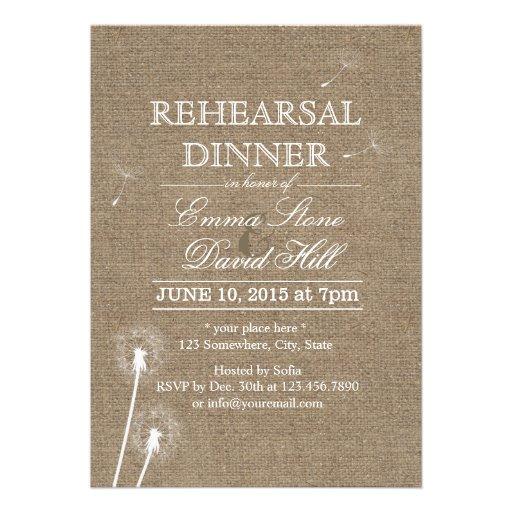 Rustic Burlap Dandelion Rehearsal Dinner Personalized Invite