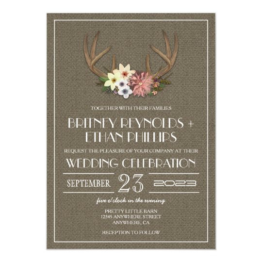 Rustic Burlap Deer Antler Wedding Invitations