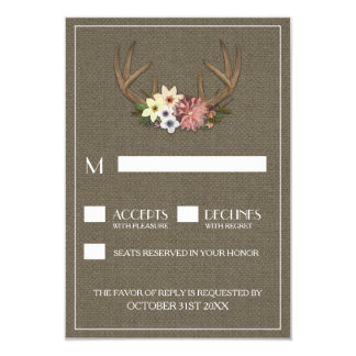Rustic Burlap Deer Antler Wedding RSVP Cards 9 Cm X 13 Cm Invitation Card