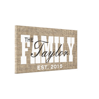 Rustic Burlap Family Established Family Name Sign