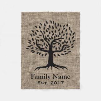 Rustic Burlap Family Tree Family Name Established Fleece Blanket