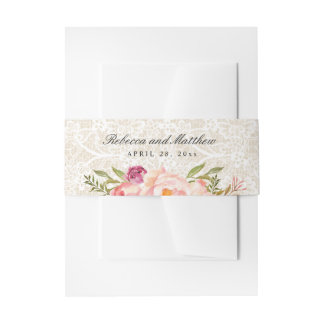 Rustic Burlap Floral Chic Ivory Lace Wedding Invitation Belly Band