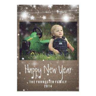 Rustic Burlap Glowing Stars Happy New Year Photo 13 Cm X 18 Cm Invitation Card