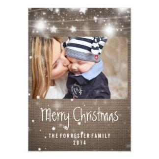 Rustic Burlap Glowing Stars Merry Christmas Photo 13 Cm X 18 Cm Invitation Card