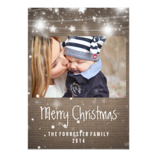 Rustic Burlap Glowing Stars Merry Christmas Photo Card