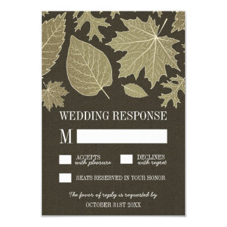 Rustic Burlap Gold Fall Leaves Wedding RSVP Cards 9 Cm X 13 Cm Invitation Card