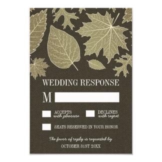Rustic Burlap Gold Fall Leaves Wedding RSVP Cards 9 Cm X 13 Cm Invitation Card