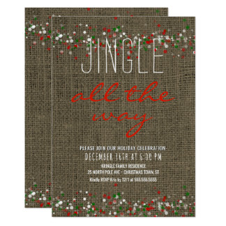 Rustic Burlap Holiday Party Jingle All the Way Card