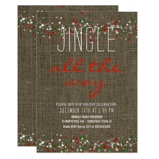 Rustic Burlap Holiday Party Jingle All the Way