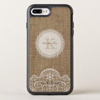 Rustic Burlap Ivory Lace Monogram Name OtterBox Symmetry iPhone 8 Plus/7 Plus Case