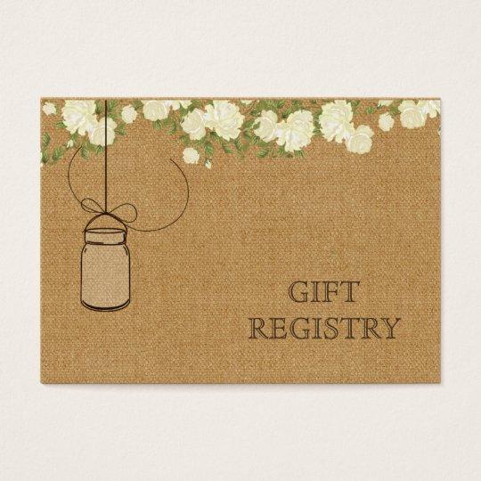 rustic burlap ivory roses mason jars gift registry
