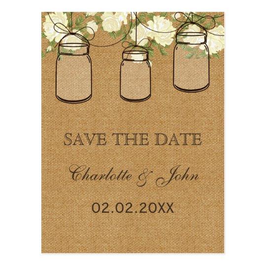 Rustic burlap ivory roses mason jars save dates
