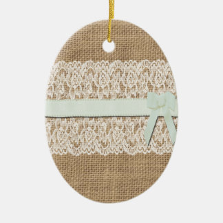 Rustic Burlap, Lace and Ribbon Ceramic Oval Decoration