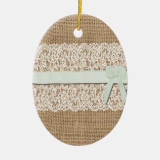 Rustic Burlap, Lace and Ribbon Christmas Ornament
