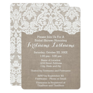 Rustic Burlap Lace Bridal Shower/Engagement Party Card