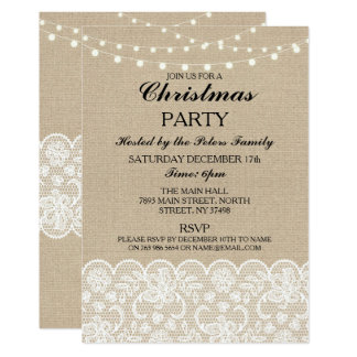 Rustic Burlap Lace Christmas Dinner Day Party Card