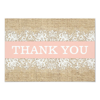 Rustic Burlap Lace Coral Girl Modern Thank You Card