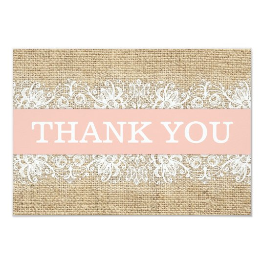 Rustic Burlap Lace Coral Girl Modern Thank You