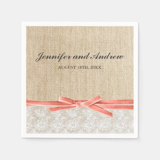 Rustic Burlap Lace Coral Ribbon Wedding Paper Serviettes