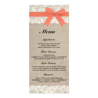 Rustic Burlap & Lace Coral Wedding Menu Rack Card