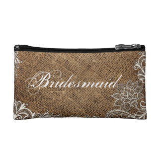 rustic burlap lace country wedding bridesmaid cosmetic bag