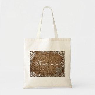 rustic burlap lace country wedding bridesmaid bags
