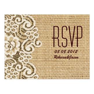 rustic  burlap lace country wedding RSVP Postcard