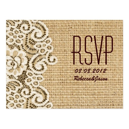 rustic  burlap lace country wedding RSVP Post Cards