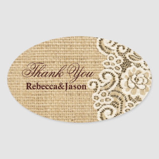 rustic burlap lace country wedding thank you stickers