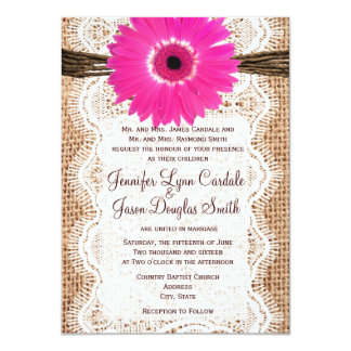 Rustic Burlap Lace Hot Pink Daisy Wedding Invites