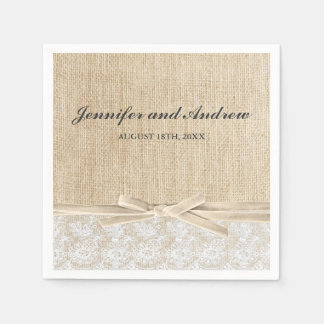 Rustic Burlap Lace Ivory Ribbon Wedding Disposable Napkin