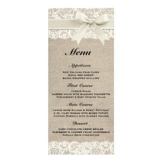 Rustic Burlap & Lace Ivory Wedding Menu Custom Rack Cards