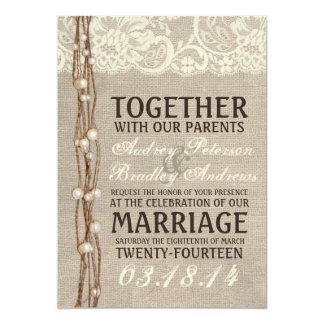 "Rustic Burlap Lace Pearly Twine Wedding Invitation 5"" X 7"" Invitation Card"