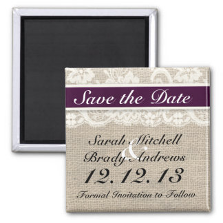 Rustic Burlap Lace Plum Save the Date Magnet