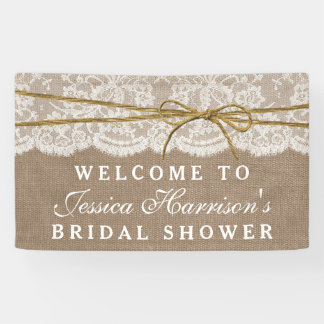 Rustic Burlap, Lace & Twine Bow Bridal Shower Banner