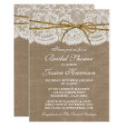 Rustic Burlap, Lace & Twine Bow Bridal Shower Card